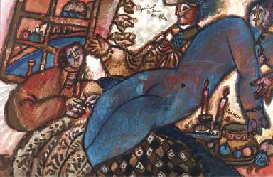 Portrait de dame en bleu