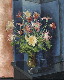 Still life with flowers in a v