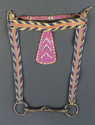 A CROW BEADED HIDE HORSE BRIDL