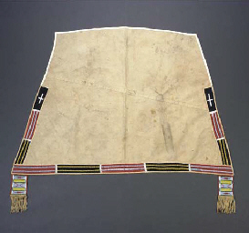 A CROW BEADED CLOTH SADDLE BLA