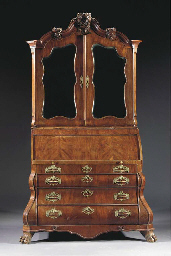 A Dutch mahogany bureau cabine