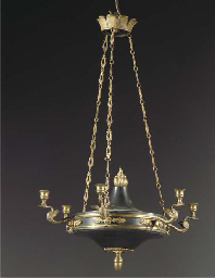 A French ormolu and green pati