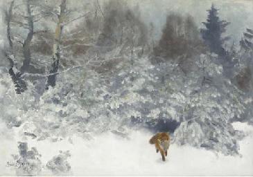 Fox in a Winter landscape (Räv