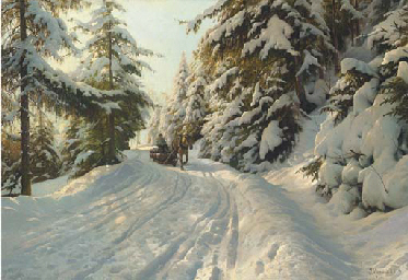 Winter landscape with a timber
