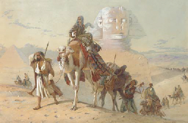 Caravan with the Pyramids and