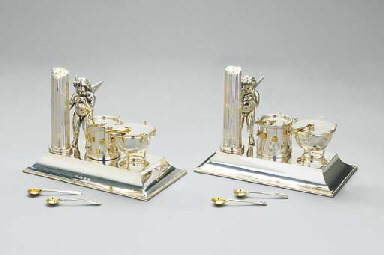 A pair of silver and parcel-gi