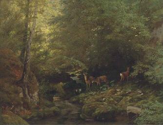 Deer in a river landscape
