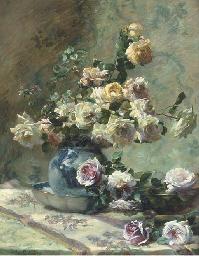 Roses cascading from a china v