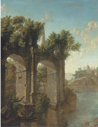 Fishing by the ruins