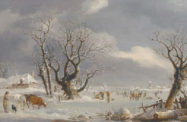Skaters in a Dutch winter land