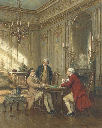 Poker players in an interior
