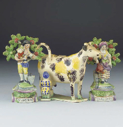 A Staffordshire pearlware cow