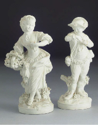 A pair of Derby biscuit figure
