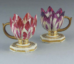 Two Derby tulip-cups