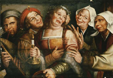 Peasants carousing with a woma