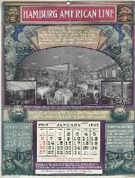 A calendar, tablecloth and a n
