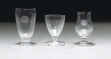 Two cordial glasses and one ju