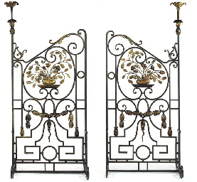 A PAIR OF WROUGHT AND CAST IRO
