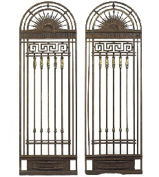 A PAIR OF WROUGHT IRON AND BRO