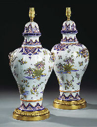 A PAIR OF FRENCH FAIENCE VASES