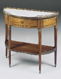 A FRENCH MAHOGANY MARBLE TOP C