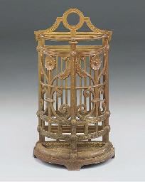 A VICTORIAN CAST IRON UMBRELLA