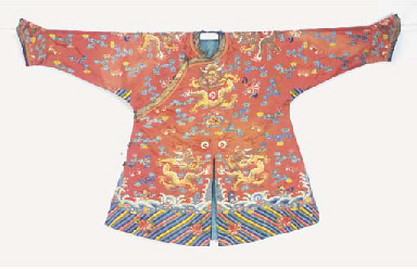 A CHILD'S COURT ROBE OF RED SA