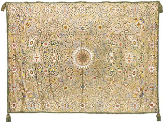 AN EMBROIDERED COVERLET OF PAL