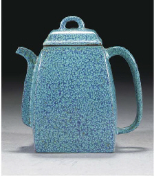 A robin's egg glazed teapot an