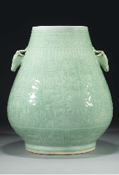 A large celadon hu-vase, 18th/