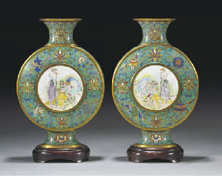 A pair of cloisonne and Canton