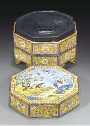 A two-tiered enamel box with i