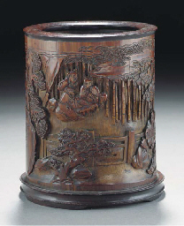 A bamboo carved brushpot, 18th
