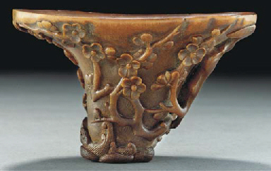 A large carved rhinoceros horn