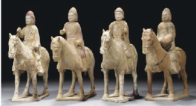 Four painted pottery models of