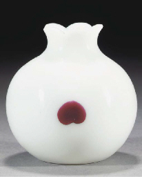 A white and red glass jar, Qia