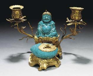 A European gilt bronze deskset