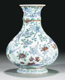 A doucai bottle vase, undergla