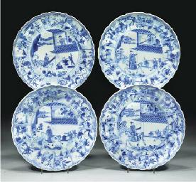 Four blue and white plates, Ka