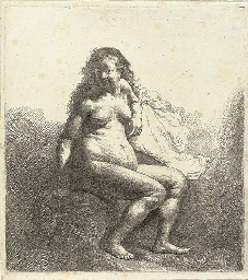 A naked Woman seated on a Moun