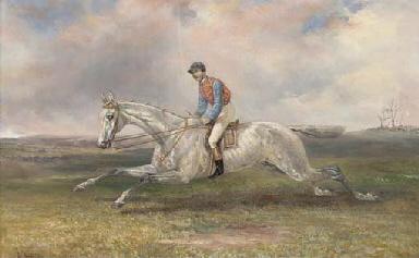 A jockey on a grey in full gal