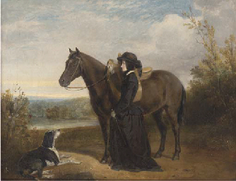 A lady standing by her horse