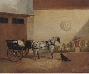 A carriage horse with a gig
