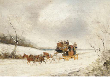 A stage coach in a winter land