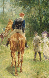 Figures and horses in a wooded