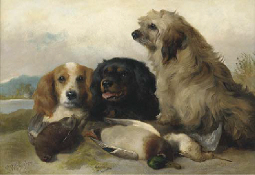 Spaniels with the day's bag