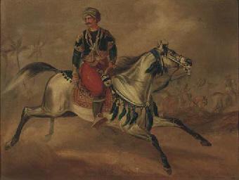 Oriental warrior on a gallopin
