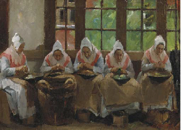 Peeling potatoes at the Joodse
