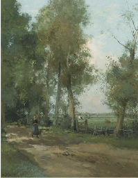 A peasant woman on a wooded pa