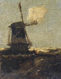A figure passing a windmill